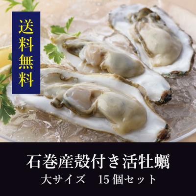 【送料無料!】石巻産殻付き活牡蠣 大サイズ 15個セット