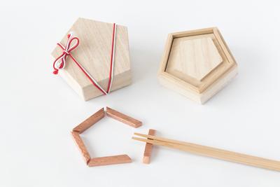 箸置き 五角形桐箱付き