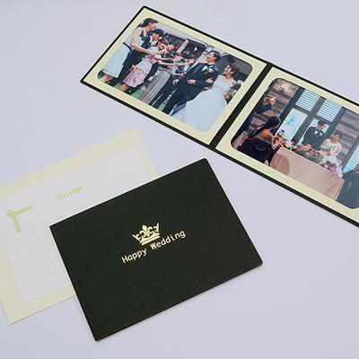 ポケット台紙 『Happy Wedding/クラウン』 2Lサイズ 2面ヨコ 写真台紙 ウエディング 王冠マーク