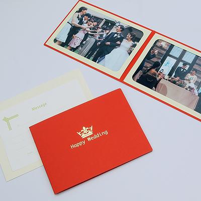 ポケット台紙 『Happy Wedding/クラウン』 Lサイズ 2面ヨコ  写真台紙 ウエディング 王冠マーク