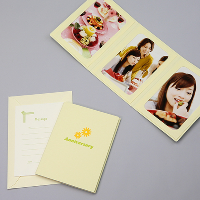ポケット台紙 『Anniversary/マーガレット』 Lサイズ 3面タテ 写真台紙 ペーパーフォトフレーム 記念日