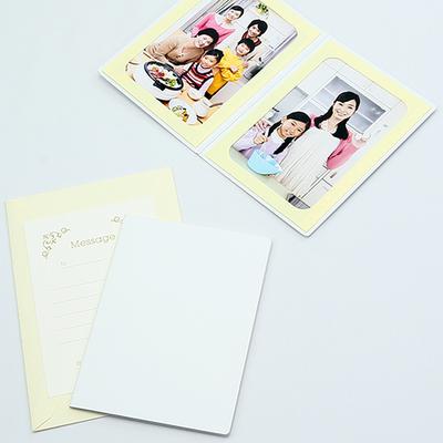 無地表紙 ポケット台紙 2Lサイズ 2面タテ (封筒付き・メッセージカード:ツタ)  写真台紙 ペーパーフォトフレーム