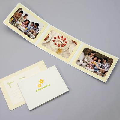 ポケット台紙 『Anniversary/マーガレット』 2Lサイズ 3面ヨコ 写真台紙 ペーパーフォトフレーム 記念日