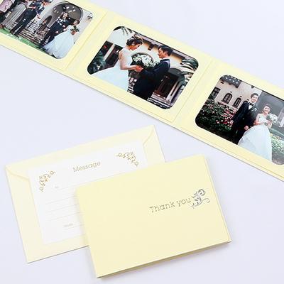 ポケット台紙 『Thank you/ツタ』 2Lサイズ 3面ヨコ  写真台紙 / ペーパーフォトフレーム 写真プレゼント