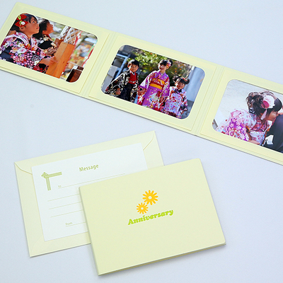 ポケット台紙 『Anniversary/マーガレット』 Lサイズ 3面ヨコ 写真台紙 ペーパーフォトフレーム 記念日