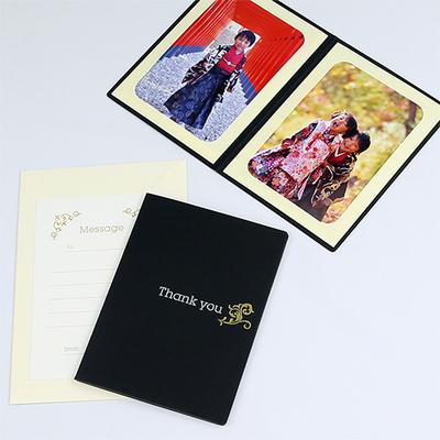 ポケット台紙 『Thank you/ツタ』 2Lサイズ 2面タテ  写真台紙 / ペーパーフォトフレーム 写真プレゼント