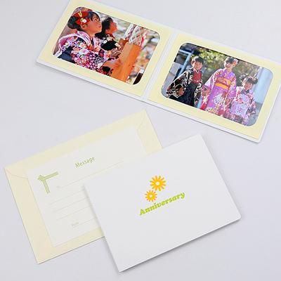 ポケット台紙 『Anniversary/マーガレット』 Lサイズ 2面ヨコ 写真台紙 ペーパーフォトフレーム 記念日