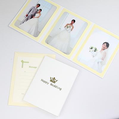ポケット台紙 『Happy Wedding/クラウン』 Lサイズ (89×127mm) 3面タテ 写真台紙 ウエディング 王冠マーク