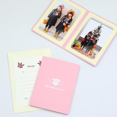 ポケット台紙 『Memories/エンゼルハート』 Lサイズ 2面タテ 写真台紙 ペーパーフォトフレーム 思い出 記念日