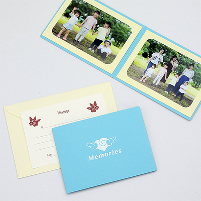 ポケット台紙 『Memories/エンゼルハート』 Lサイズ 2面ヨコ 写真台紙 ペーパーフォトフレーム 思い出 記念日
