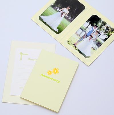 ポケット台紙 『Anniversary/マーガレット』 Lサイズ 2面タテ 写真台紙 ペーパーフォトフレーム 記念日