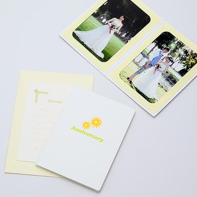 ポケット台紙 『Anniversary/マーガレット』 2Lサイズ 2面タテ 写真台紙 ペーパーフォトフレーム 記念日