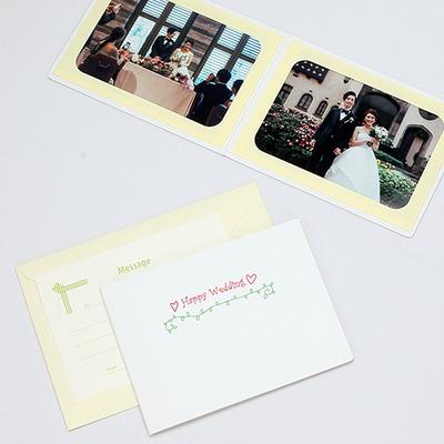 ポケット台紙 『Happy Wedding/ハートとツタ』 Lサイズ 2面ヨコ  写真台紙 ウエディング