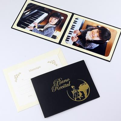 ポケット台紙 『Piano Recital/女の子』 2Lサイズ 2面ヨコ 写真台紙 / ペーパーフォトフレーム ピアノ発表会
