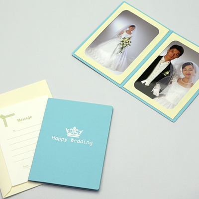 ポケット台紙 『Happy Wedding/クラウン』 Lサイズ 2面タテ  写真台紙 ウエディング 王冠マーク