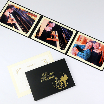 ポケット台紙 『Piano Recital/女の子』  2Lサイズ 3面ヨコ  写真台紙 / ペーパーフォトフレーム ピアノ発表会