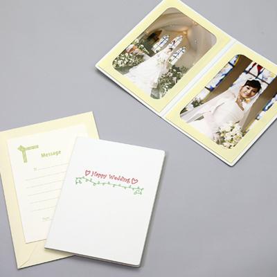 ポケット台紙 『Happy Wedding/ハートとツタ』 Lサイズ 2面タテ  写真台紙 ウエディング