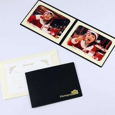 ポケット台紙 『Photograph/カメラ』 2Lサイズ 2面ヨコ  写真台紙 / ペーパーフォトフレーム 記念撮影 写真プレゼントに