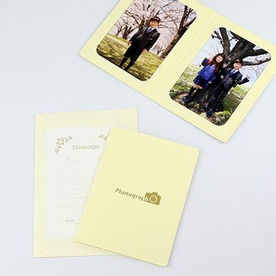 ポケット台紙 『Photograph/カメラ』 2Lサイズ 2面タテ  写真台紙 / ペーパーフォトフレーム 記念撮影 写真プレゼントに