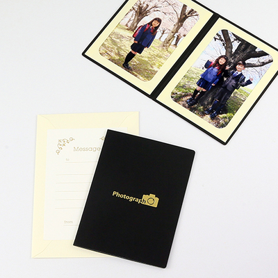 ポケット台紙 『Photograph/カメラ』 Lサイズ 2面タテ  写真台紙 / ペーパーフォトフレーム 記念撮影 写真プレゼントに
