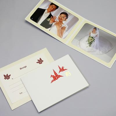 ポケット台紙 『寿/折り鶴』 Lサイズ 2面ヨコ   写真台紙 折り鶴と寿の和風婚礼台紙