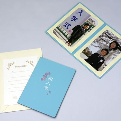 ポケット台紙 『祝入学/さくら』 Lサイズ 2面タテ  写真台紙 / ペーパーフォトフレーム 入学祝い