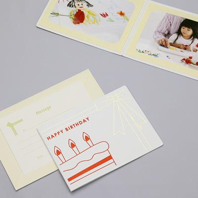 ポケット台紙 『HAPPY BIRTHDAY/バースデーケーキ』 2Lサイズ 2面ヨコ  写真台紙 / ペーパーフォトフレーム 写真プレゼント 誕生日