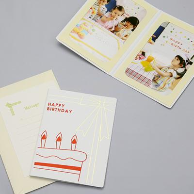 ポケット台紙 『HAPPY BIRTHDAY/バースデーケーキ』 2Lサイズ 2面タテ  写真台紙 / ペーパーフォトフレーム 写真プレゼント 誕生日