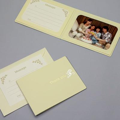 ポケット台紙 『Thank you/ツタ』 Lサイズ 2面ヨコ  写真台紙 / ペーパーフォトフレーム 写真プレゼント