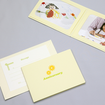 ポケット台紙 『Anniversary/マーガレット』 2Lサイズ 2面ヨコ 写真台紙 ペーパーフォトフレーム 記念日