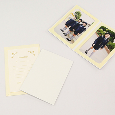 無地表紙 ポケット台紙 はがき 2面タテ (封筒付き・メッセージカード:ツタ)  写真台紙 ペーパーフォトフレーム