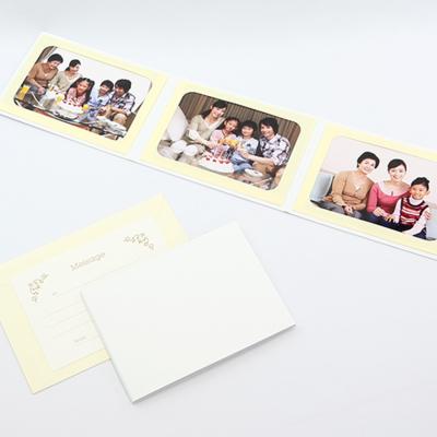 無地表紙 ポケット台紙 Lサイズ 3面ヨコ (封筒付き・メッセージカード:ツタ)  写真台紙 ペーパーフォトフレーム