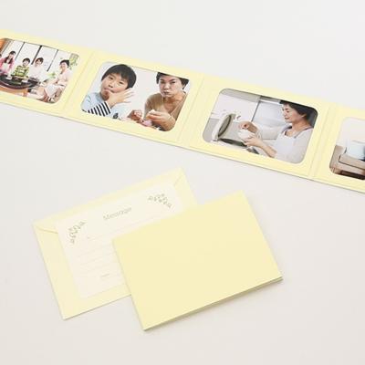 無地表紙 ポケット台紙 Lサイズ 4面ヨコ (封筒付き・メッセージカード:ツタ)  写真台紙 ペーパーフォトフレーム