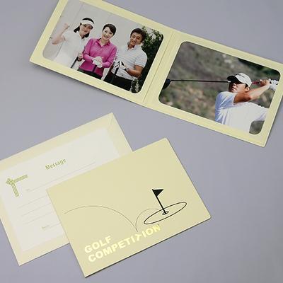 ポケット台紙 『GOLF COMPE/ ホールインワン』 2Lサイズ 2面ヨコ  ゴルフコンペ 写真台紙 ペーパーフォトフレーム