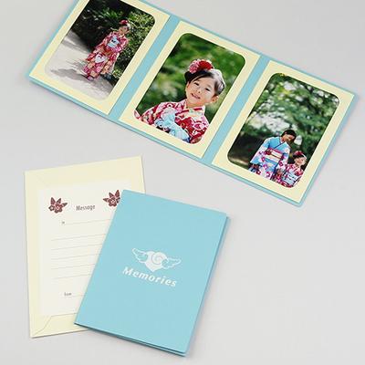 ポケット台紙 『Memories/エンゼルハート』 2Lサイズ 3面タテ 写真台紙 ペーパーフォトフレーム 思い出 記念日