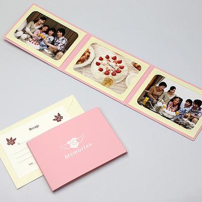 ポケット台紙 『Memories/エンゼルハート』 Lサイズ 3面ヨコ 写真台紙 ペーパーフォトフレーム 思い出 記念日