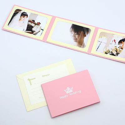 ポケット台紙 『Happy Wedding/クラウン』 2Lサイズ 3面ヨコ 写真台紙 ウエディング 王冠マーク
