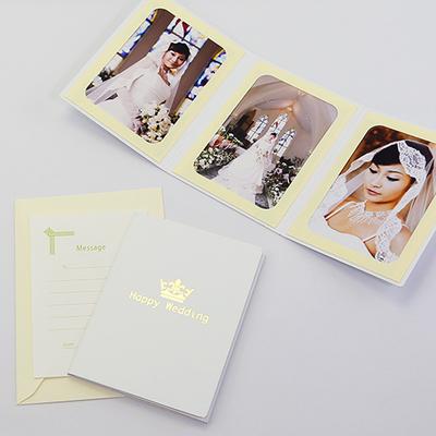 ポケット台紙 『Happy Wedding/クラウン』 2Lサイズ 3面タテ 写真台紙 ウエディング 王冠マーク