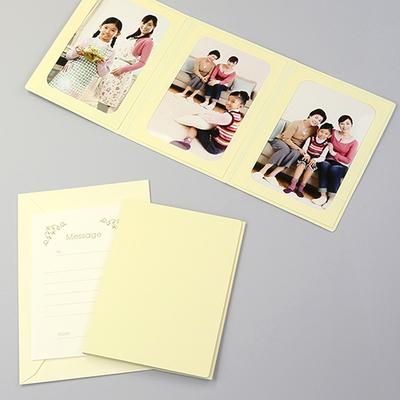 無地表紙 ポケット台紙 2Lサイズ 3面タテ (封筒付き・メッセージカード:ツタ)  写真台紙 ペーパーフォトフレーム