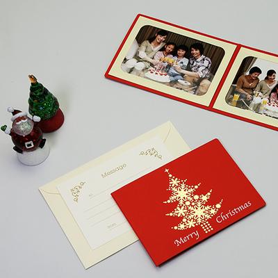 ポケット台紙 『Merry Christmas/ツリー』 Lサイズ 2面ヨコ  レッド 写真台紙 / ペーパーフォトフレーム クリスマス