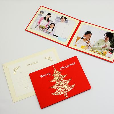 ポケット台紙 『Merry Christmas/ツリー』 2Lサイズ 2面ヨコ  レッド 写真台紙 / ペーパーフォトフレーム クリスマス
