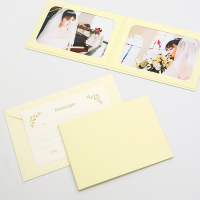 無地表紙 ポケット台紙 2Lサイズ 2面ヨコ (封筒付き・メッセージカード:ツタ)  写真台紙 ペーパーフォトフレーム