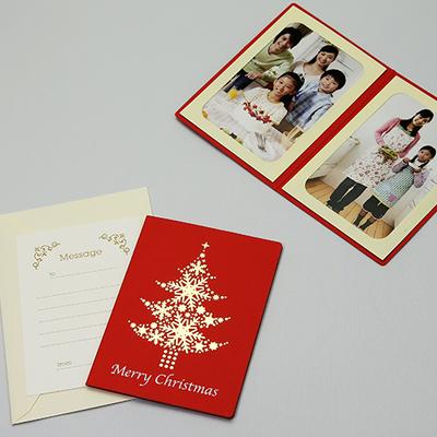 ポケット台紙 『Merry Christmas/ツリー』 Lサイズ 2面タテ  レッド 写真台紙 / ペーパーフォトフレーム クリスマス