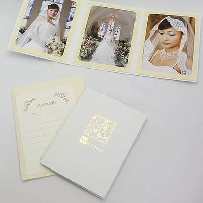 ポケット台紙 『WEDDING/桜』 2Lサイズ 3面タテ 写真台紙 ウエディング 結婚式