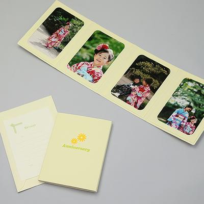 ポケット台紙 『Anniversary/マーガレット』 Lサイズ 4面タテ 写真台紙 ペーパーフォトフレーム 思い出 記念日