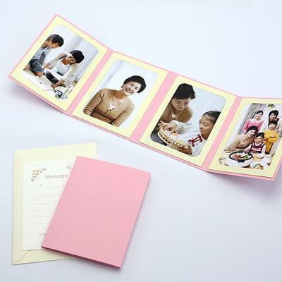無地表紙 ポケット台紙 Lサイズ 4面タテ (封筒付き・メッセージカード:ツタ)  写真台紙 ペーパーフォトフレーム