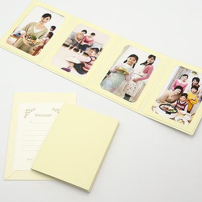 無地表紙 ポケット台紙 2Lサイズ 4面タテ (封筒付き・メッセージカード:ツタ)  写真台紙 ペーパーフォトフレーム