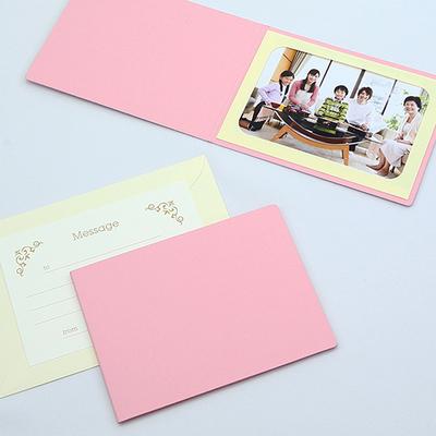 無地表紙 ポケット台紙 2Lサイズ 1面ヨコ (封筒付き・メッセージカード:ツタ) 写真台紙 ペーパーフォトフレーム