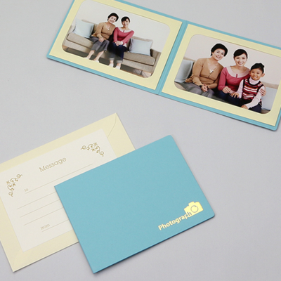 ポケット台紙 『Photograph/カメラ』 Lサイズ 2面ヨコ  写真台紙 / ペーパーフォトフレーム 記念撮影 写真プレゼントに