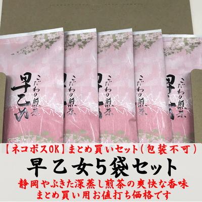 【お得】深蒸し煎茶「早乙女」100g×5袋お値打ちセット 静岡茶 2021年産一番茶(ギフト包装不可)【ネコポスOK】